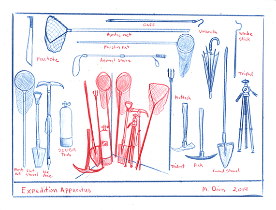 Mark Dion, Expedition Apparatus, 2014, red and blue pencil on paper, 15.2x20.3cm