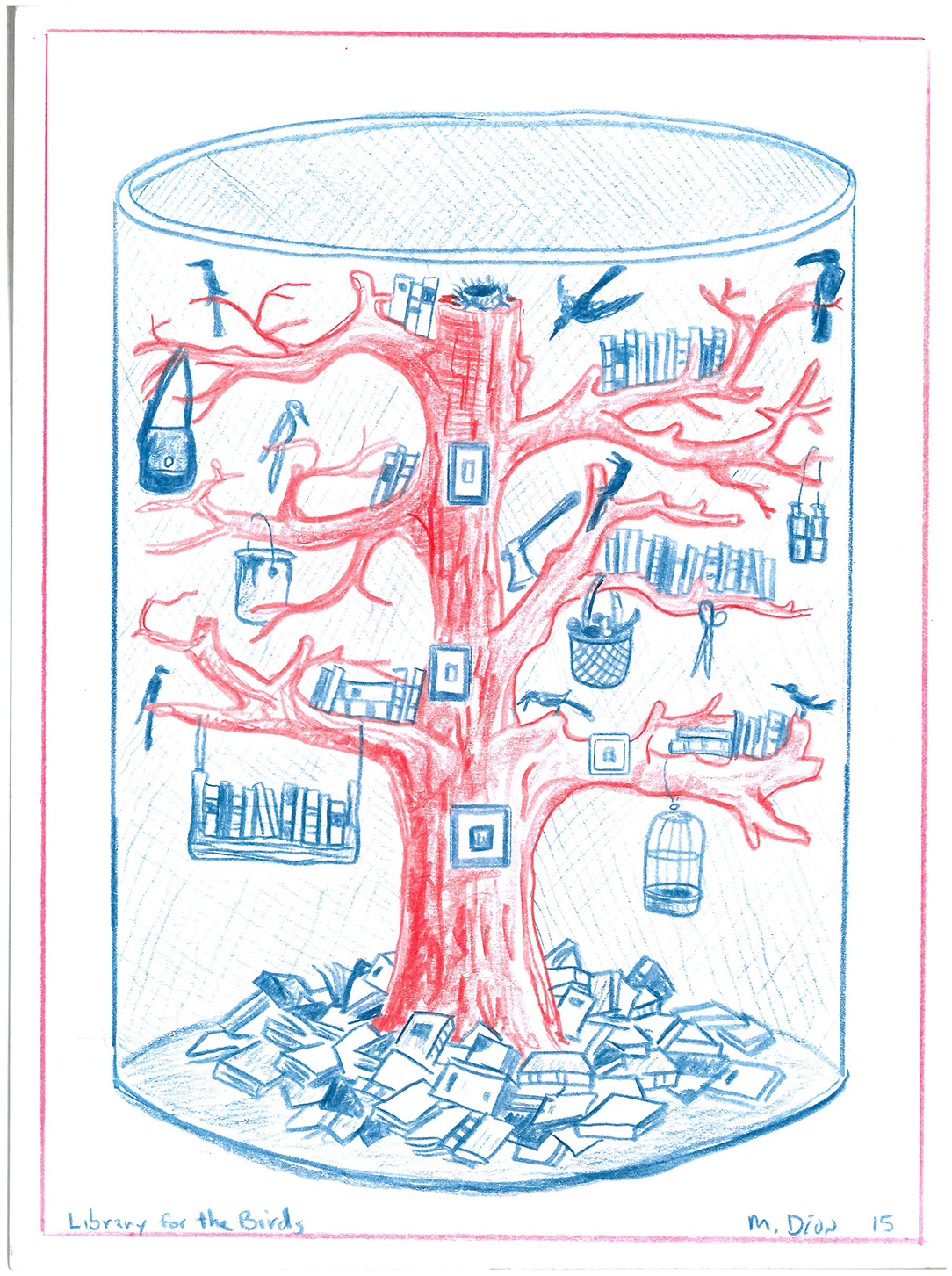 Mark Dion, Library for the Birds, 2015, red and blue pencil on paper, 15.3x20.4cm