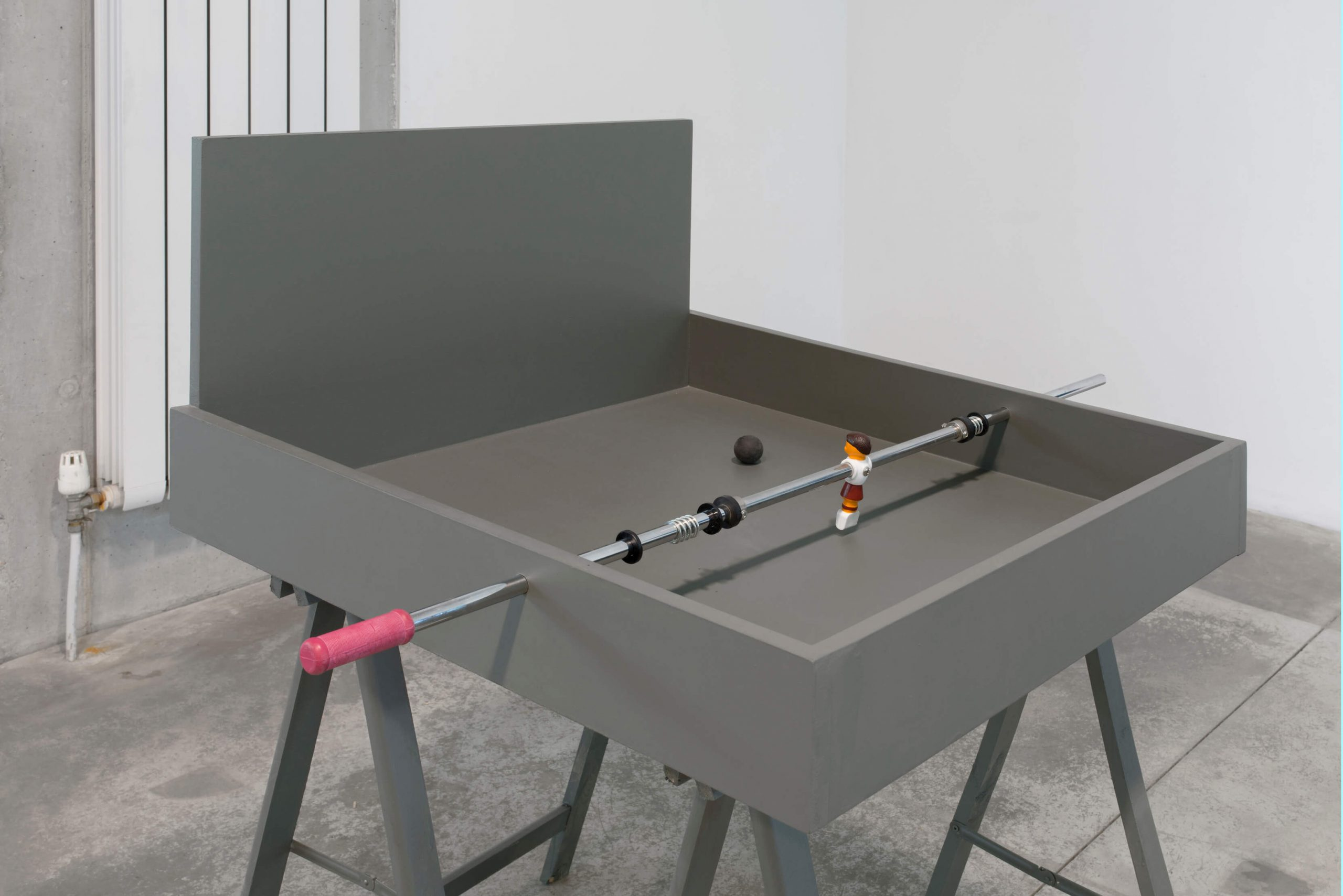 Gerard Herman, Wet Van behoud van ellende, 2015, MDF, table football player, 83x73x115 cm (1)