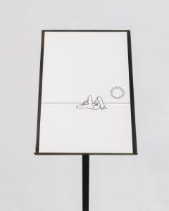 Gerard Herman, Series of 12 drawings on cardboard, steel pedestal, 140 × 26 cm